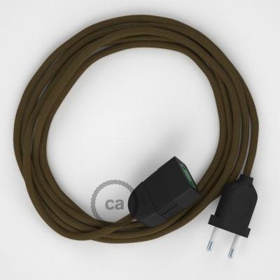 Hnědý bavlněný RC13 2P 10A textilní prodlužovací elektrický kabel. Vyrobený v Itálii.