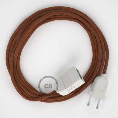 """""""Jelení"""" hnědý bavlněný RC23 2P 10A textilní prodlužovací elektrický kabel. Vyrobený v Itálii."""
