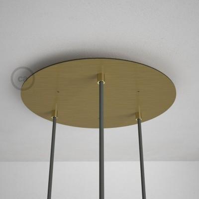 Kulatý 35 cm XXL stropní baldachýn lesklé mosazné barvy se 3 otvory + součástky