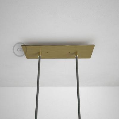 Obdélníkový 30x12 cm XXL stropní baldachýn lesklé mosazné barvy se 2 otvory + součástky