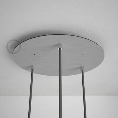 Kulatý 35 cm XXL stropní baldachýn lesklé ocelové barvy se 3 otvory + součástky