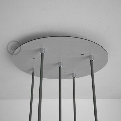 Kulatý 35 cm XXL stropní baldachýn lesklé ocelové barvy se 5 otvory + součástky