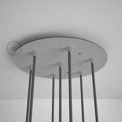 Kulatý 35 cm XXL stropní baldachýn lesklé ocelové barvy se 7 otvory + součástky