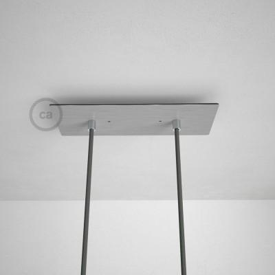 Obdélníkový 30x12 cm XXL stropní baldachýn lesklé ocelové barvy se 2 otvory + součástky