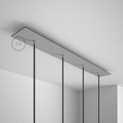 Obdélníkový 90x12 cm XXL stropní baldachýn lesklé ocelové barvy se 4 otvory + součástky