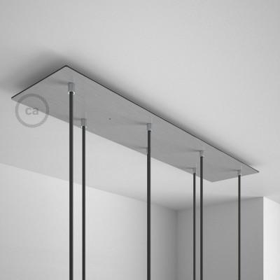 Obdélníkový 90x20 cm XXL stropní baldachýn lesklé ocelové barvy se 7 otvory + součástky