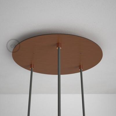 Kulatý 35 cm XXL stropní baldachýn lesklé měděné barvy se 3 otvory + součástky