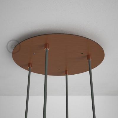 Kulatý 35 cm XXL stropní baldachýn lesklé měděné barvy se 4 otvory + součástky