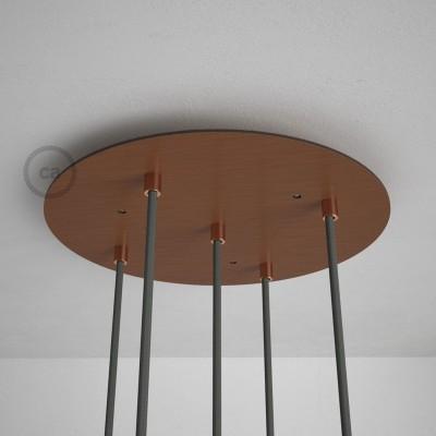 Kulatý 35 cm XXL stropní baldachýn lesklé měděné barvy se 5 otvory + součástky