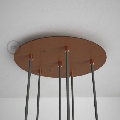 Kulatý 35 cm XXL stropní baldachýn lesklé měděné barvy se 6 otvory + součástky