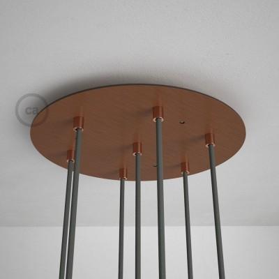 Kulatý 35 cm XXL stropní baldachýn lesklé měděné barvy se 7 otvory + součástky