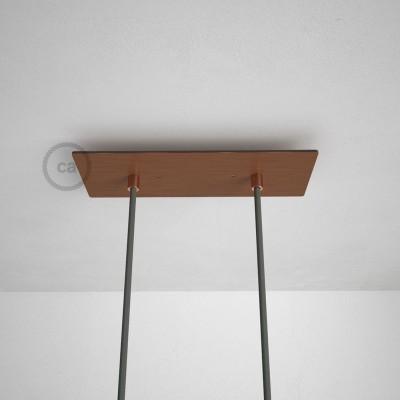 Obdélníkový 30x12 cm XXL stropní baldachýn lesklé měděné barvy se 2 otvory + součástky