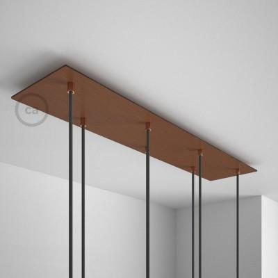 Obdélníkový 90x20 cm XXL stropní baldachýn lesklé měděné barvy se 7 otvory + součástky