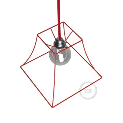 Holý rám pro stínidlo Pyramida - červený kov - upevnění na E27 objímku