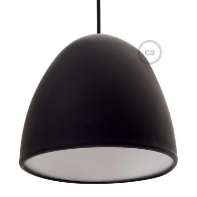 Černé silikonové stínidlo s difuzorem a kabelovou průchodkou. Průměr 25 cm.