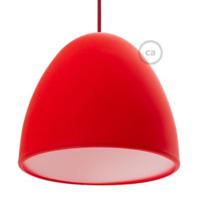 Červené silikonové stínidlo s difuzorem a kabelovou průchodkou. Průměr 25 cm.