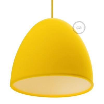 Žluté silikonové stínidlo s difuzorem a kabelovou průchodkou. Průměr 25 cm.