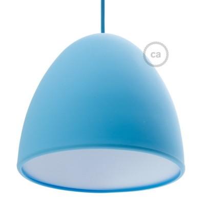 Modré silikonové stínidlo s difuzorem a kabelovou průchodkou. Průměr 25 cm.