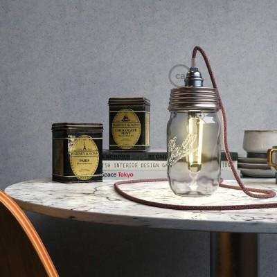 Pozinkovaná sestava na lampu ze zavařeninového poháru s E14 chromovanou kovovou objímkou a obyčejnou kabelovou svorkou
