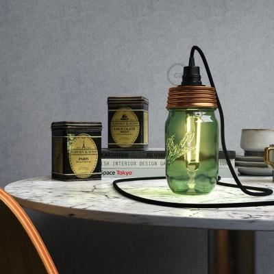 Bronzová sestava na lampu ze zavařeninového poháru s E14 černou bakelitovou objímkou a obyčejnou kabelovou svorkou