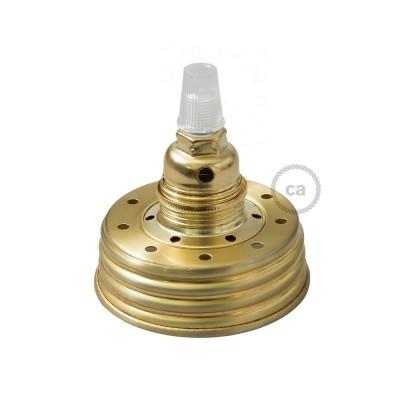 Mosazná sestava na lampu ze zavařeninového poháru s E14 mosaznou kovovou objímkou a obyčejnou kabelovou svorkou