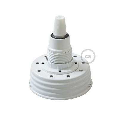 Bílá sestava na lampu ze zavařeninového poháru s E14 bílou bakelitovou objímkou a obyčejnou kabelovou svorkou