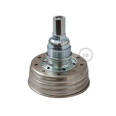 Pozinkovaná sestava na lampu ze zavařeninového poháru s E14 chromovanou kovovou objímkou a válcovou kabelovou svorkou