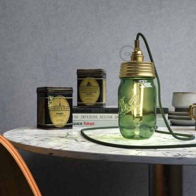 Mosazná sestava na lampu ze zavařeninového poháru s E14 mosaznou kovovou objímkou a válcovou kabelovou svorkou