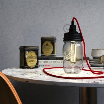 Černá sestava na lampu ze zavařeninového poháru s E14 černou bakelitovou objímkou a válcovou kabelovou svorkou