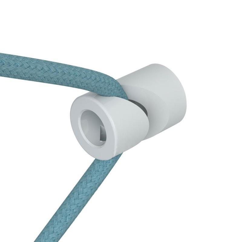 """Decentralizer - bílý stropní nebo nástěnný """"V"""" háček pro textilní elektrické kabely."""