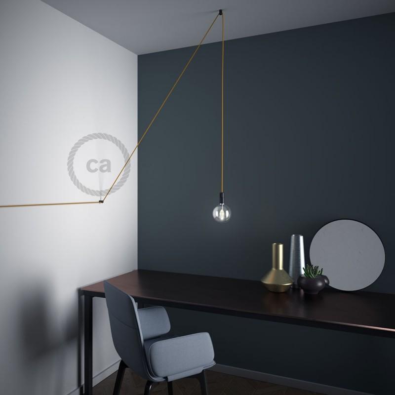 """Decentralizer - černý stropní nebo nástěnný """"V"""" háček pro textilní elektrické kabely."""