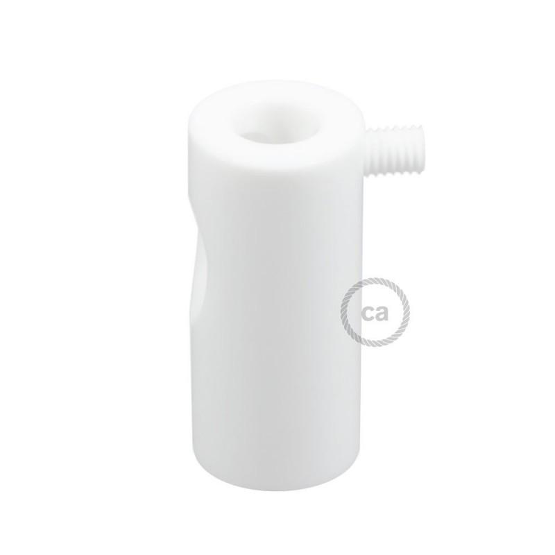 Bílý stropní decentralizer - háček a zarážka pro textilní elektrické kabely.