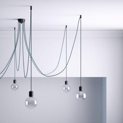 Černý stropní decentralizer - háček a zarážka pro textilní elektrické kabely.