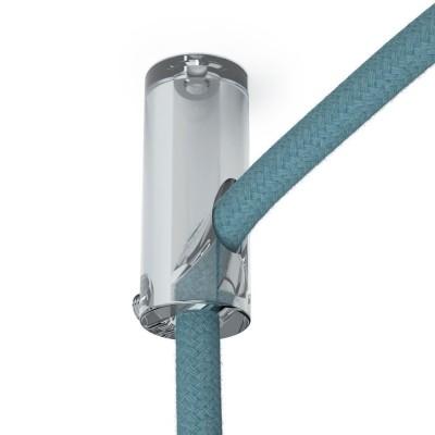 Průhledný stropní decentralizer - háček a zarážka pro textilní elektrické kabely.