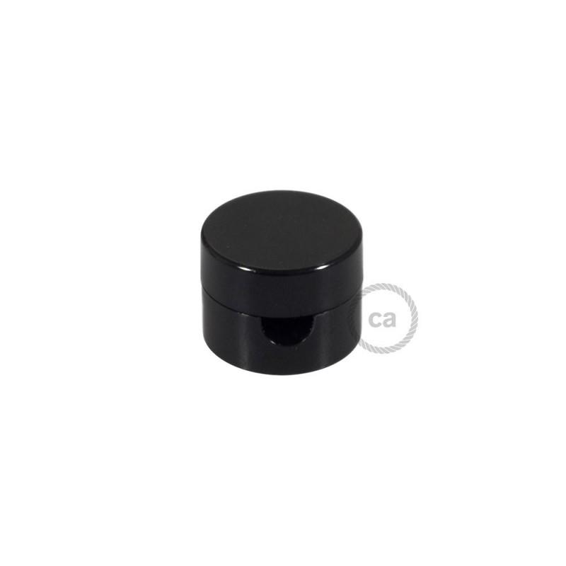 Univerzální černá nástěnná kabelová svorka pro textilní elektrické kabely.
