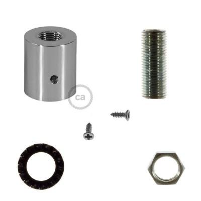 Chromovaná kovová koncovka pro 16 mm trubice Creative-Tube, s příslušenstvím