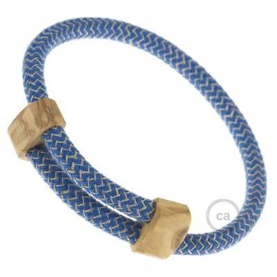 Kreativní - náramek lněné barvy s modrým cik-cak vzorem RD73 s dřevěným regulovatelným upevněním.