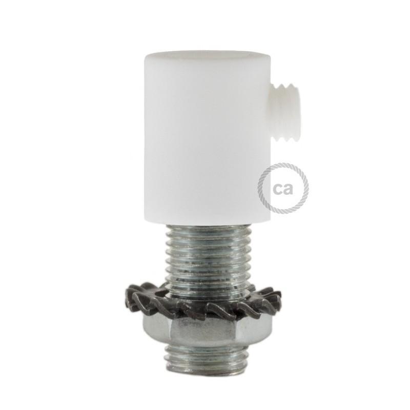 Bílá kulatá plastová kabelová průchodka se závitovou tyčkou, maticí a podložkou.