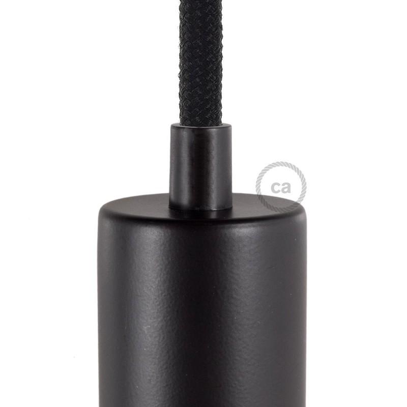 Černá kulatá plastová kabelová průchodka se závitovou tyčkou, maticí a podložkou.