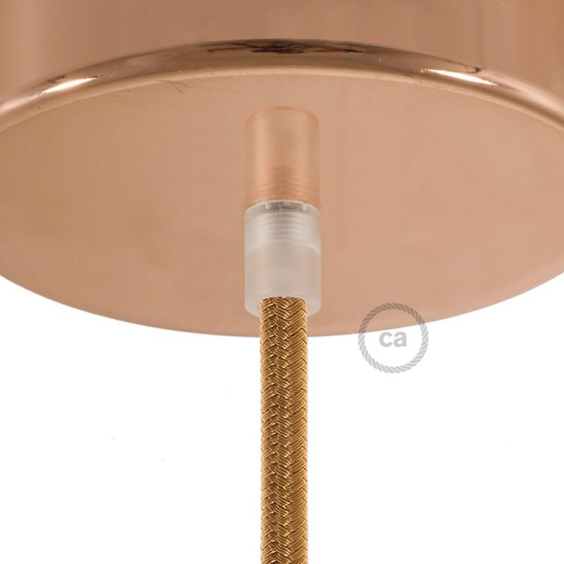 Průhledná kulatá plastová kabelová průchodka se závitovou tyčkou, maticí a podložkou.
