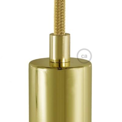 Mosazná kulatá plastová kabelová průchodka se závitovou tyčkou, maticí a podložkou.