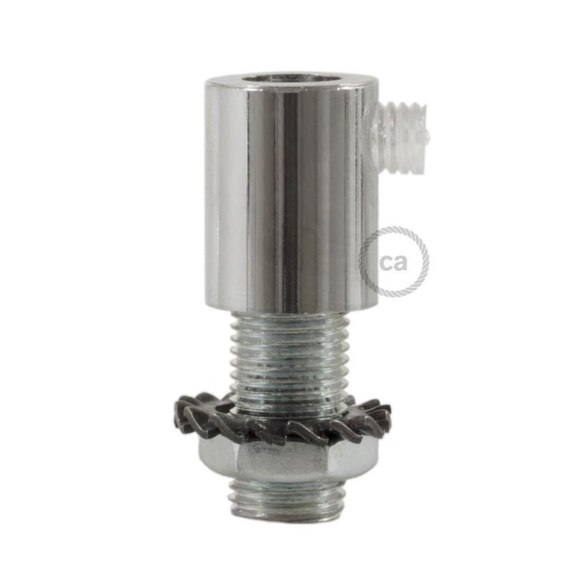 Chromovaná kulatá plastová kabelová průchodka se závitovou tyčkou, maticí a podložkou.