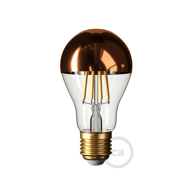 LED žárovka E27 s měděnou polokoulí – Kapka A60 - 7W E27 Stmívatelná 2700K