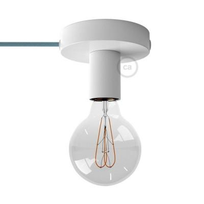 Spostaluce, bílý kovový zdroj světla s textilním kabelem a bočními otvory