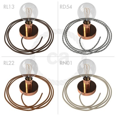 Spostaluce, měděný kovový zdroj světla s textilním kabelem a bočními otvory