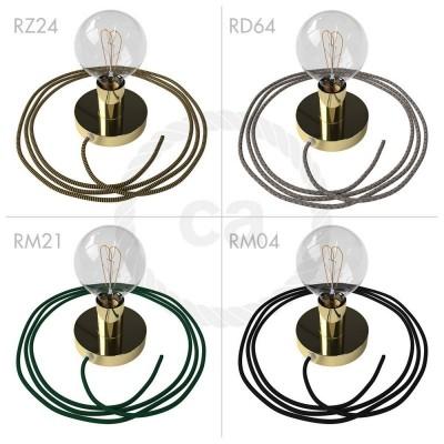 Spostaluce, mosazný kovový zdroj světla s textilním kabelem a bočními otvory