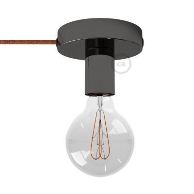 Spostaluce, černý perleťový kovový zdroj světla s textilním kabelem a bočními otvory