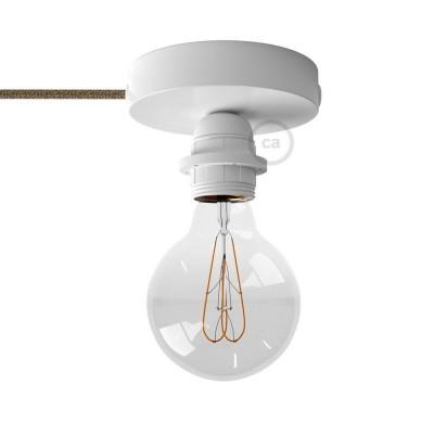 Spostaluce, bílý kovový zdroj světla s E27 objímkou se závitem, textilním kabelem a bočními otvory
