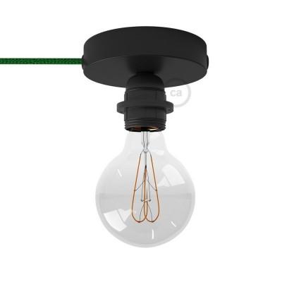 Spostaluce, černý kovový zdroj světla s E27 objímkou se závitem, textilním kabelem a bočními otvory