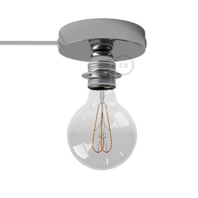 Spostaluce, chromovaný kovový zdroj světla s E27 objímkou se závitem, textilním kabelem a bočními otvory